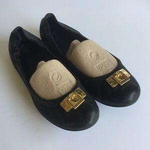 Tory Burch Black Leather Door Knocker Ballet Flats